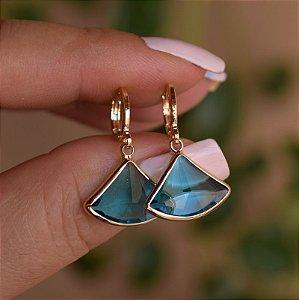 Brinco argolinha penduricalho cristal azul ouro semijoia