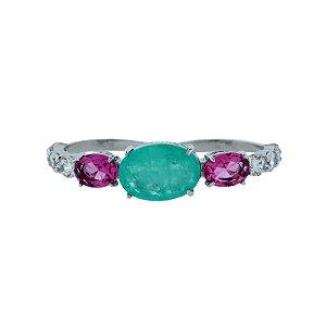 Anel duplo cristal fusion fucsia com esmeralda colombiana ródio semijoia