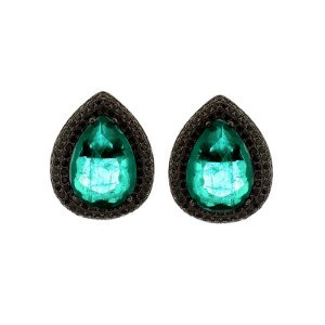 Brinco gota cristal verde ródio negro semijoia