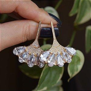 Brinco leque zircônia cristal ouro semijoia