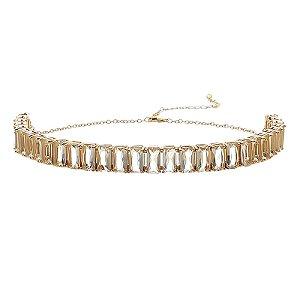 Choker cristal zircônia ouro semijoia