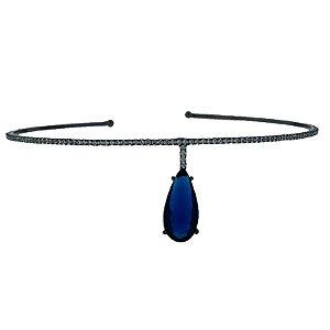Choker aro zircônia azul ródio negro semijoia