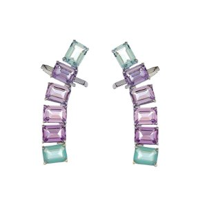 Ear cuff retângulos fusion lilás e azul ródio semijoia