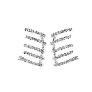 Brinco ear cuff garras  zircônia ródio semijoia 512010151