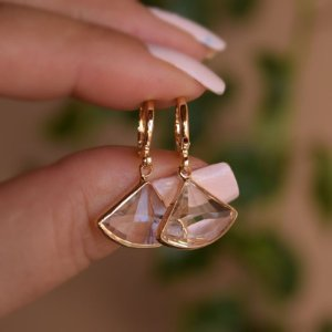 Brinco argolinha penduricalho cristal ouro semijoia