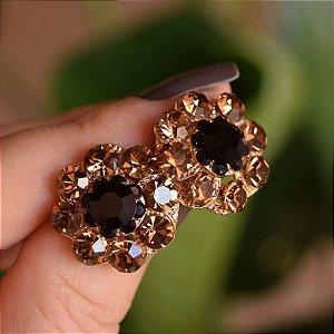 Brinco Iza Perobelli cristais dourado e preto
