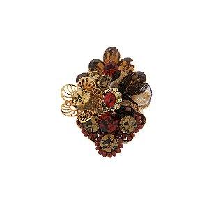 Anel Iza Perobelli ajustável cristais terrosos e vermelho