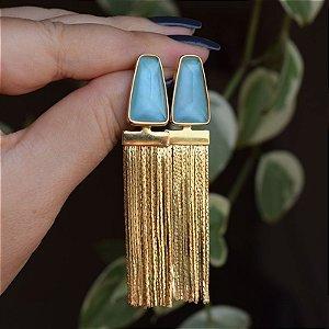 Brinco franja ouro madrepérola azul semijoia