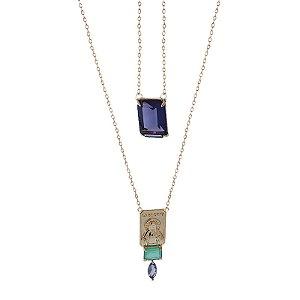 Colar escapulário cristal tanzanita e esmeralda colombiana ouro semijoia
