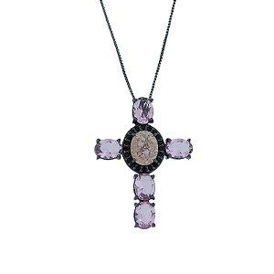 Colar crucifixo cristal kunzita e morganita ródio negro semijoia