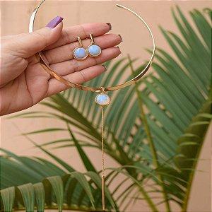 Colar e brinco pedra natural opalina facetada semijoia