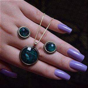 Colar e brinco redondo pedra natural esmeralda semijoia