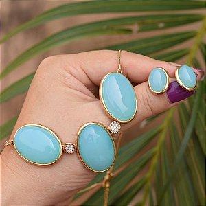 Colar e brinco oval pedra natural ágata azul céu semijoia