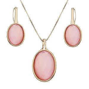 Colar e brinco oval pedra natural madrepérola rosa semijoia