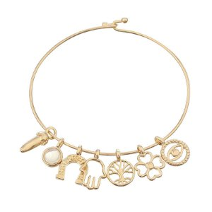 Bracelete amuleto pedra natural opalina semijoia