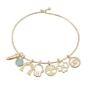 Bracelete amuleto pedra natural ágata azul céu semijoia