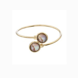 Bracelete ajustável pedra natural abalone semijoia