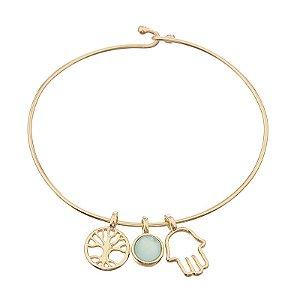 Bracelete amuleto pedra natural ágata azul céu ouro semijoia
