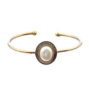 Bracelete ajustável pérola ouro semijoia