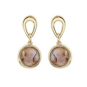 Brinco ouro pedra natural abalone semijoia