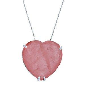 Colar Coração Cristal Fusion Rosa semijoia