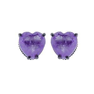 Brinco Coração Cristal Fusion Ultra Violet semijoia