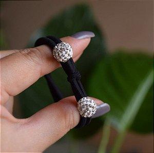 Elástico para cabelo preto bola strass cristal