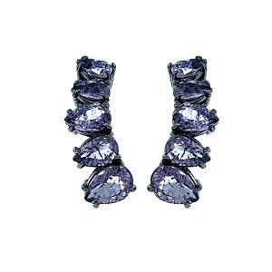 Brinco ear cuff cristal roxo ródio negro semijoia