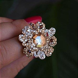 Anel Leticia Sarabia cristais multicores dourado