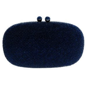 Clutch oval cristal azul marinho BO 16151BL