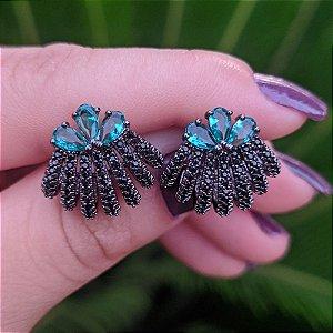 Brinco ear jacket ródio negro zircônia esmeralda semijoia 596010109