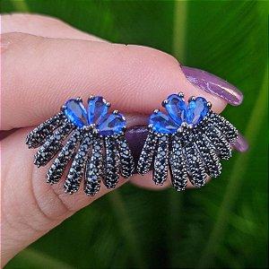 Brinco ear jacket ródio negro zircônia azul royal semijoia 596010109