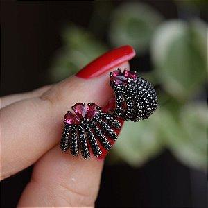 Brinco ear jacket ródio negro zircônia rubi semijoia 596010109