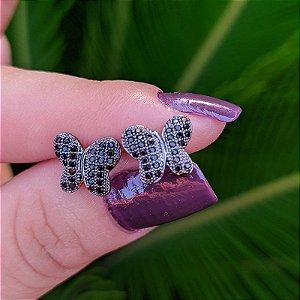 Brinco borboleta ródio negro semijoia 519009967