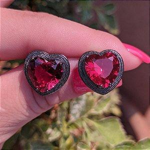 Brinco coração cristal fusion rubi ródio negro semijoia 596010234