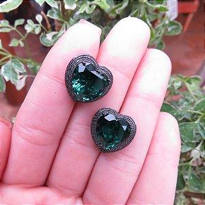 Brinco coração cristal fusion esmeralda ródio negro semijoia 596010234