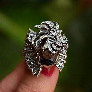 Anel ajustável Claudia Arbex prata cristal aqua marine semijoia