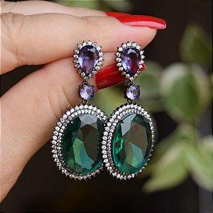 Brinco oval cristal verde ródio negro semijoia