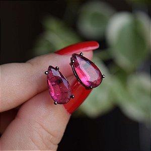 Brinco gota cristal fusion rubi ródio negro semijoia