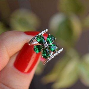 Piercing de encaixe flor prata cristal esmeralda ródio semijoia