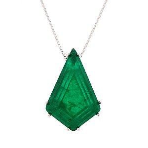 Colar ródio cristal esmeralda semijoia