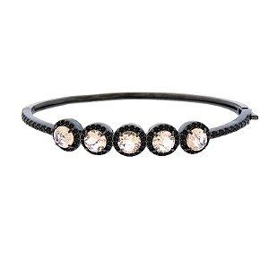 Bracelete cristal morganita ródio negro semijoia