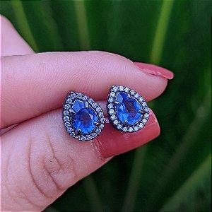 Brinco gota cristal azul royal ródio negro semijoia