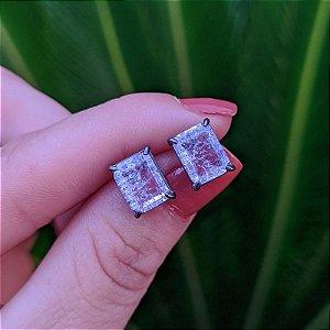 Brinco cristal retangular rosa ródio negro semijoia