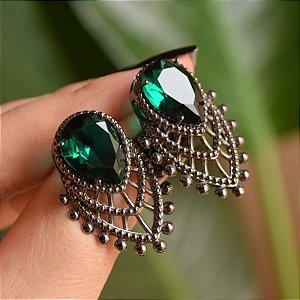 Brinco cristal esmeralda ródio negro semijoia