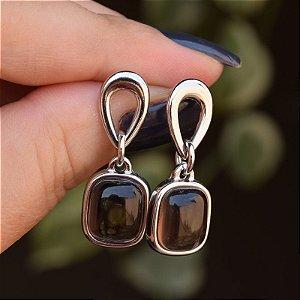 Brinco pedra natural obsidiana fumê ródio semijoia