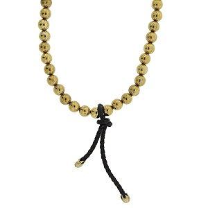 Colar longo Camila Klein bolas dourado velho couro preto