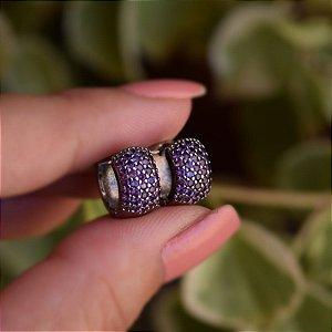 Brinco argola m ródio negro zircônia lilás semijoia