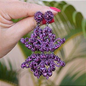 Brinco Leticia Sarabia cristal uva