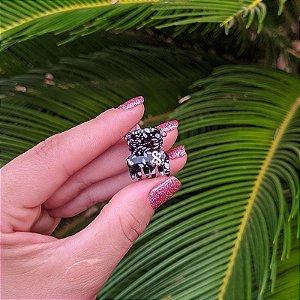 Piranha de cabelo mini Bianca floral preto e branco 05 156